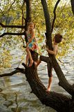 Naughty boy and girl sitting on a branch over water, laughing, having fun talking Royalty Free Stock Photo