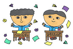 Naughty boys. Illustration of two male students throwing crumpled papers and paper airplanes inside the classroom Stock Image