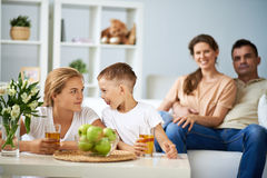 Naughty brother at home Royalty Free Stock Photos