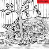 Naughty cat - coloring book for adults, zentangle patterns Stock Image