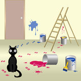 Naughty cat 6. Illustration of black naughty cat who smeared paint floor and walls of the room with ladder Royalty Free Stock Image