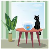 Naughty cat watching fish. Vector illustration of black naughty cat who sits on table looks at fish in aquarium Royalty Free Stock Photos