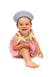 Naughty but Cheerful Baby Girl Stock Image
