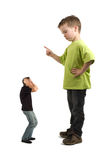 Naughty Dad. Caricature of a large son pointing his finger at the extra small dad. Not always do the parents tell what must be done Royalty Free Stock Photos