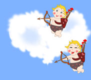 Naughty funny cupids arrows in the sky with clouds Royalty Free Stock Images