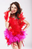 Naughty Funny Woman in Red Stagy Costume Stock Photography