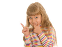 Naughty girl. A portrait of a naughty girl; isolated on the white background royalty free stock photos