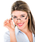 Naughty girl with glasses Royalty Free Stock Photos