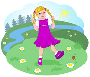 Naughty girl with pigtails dancing on the forest glade. Sunny clear day in the woods. Flowers and berries. Vector. Royalty Free Stock Photo