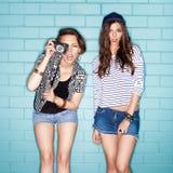 Naughty girl. Two young naughty girls having fun. Lifestyle royalty free stock photos
