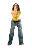Naughty girl in wide jeans Stock Photos