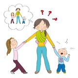 Naughty kids siblings fighting mother`s attention. Naughty kids siblings fighting mother`s attention, jealous girl tugging her mother`s hand, little toddler boy Stock Image