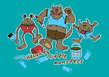Naughty little monsters. Vector illustration of 3 monster with paint brushes making a mess Stock Photo