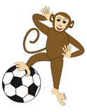 Naughty monkey with a soccer ball, children illustration useful for sport activities Stock Photography