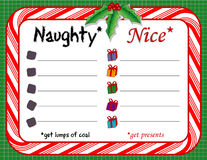 Naughty & Nice Christmas Checklist Royalty Free Stock Images