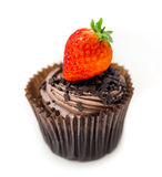 Chocolate Cupcake and Strawberry Stock Images