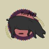 Naughty Pig logo Stock Photo