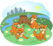 Naughty rays playing on meadow with flowers near the old stump. Children's illustration in vector. Edge of the Forest. River. Sunny day Royalty Free Stock Photo