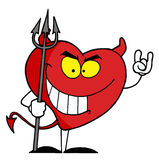Naughty red heart character. Devil vector illustration