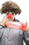 Naughty Thoughty. A Clown Gasps In Shock After Creating A Phallic Symbol Out Of A Balloon Evocatively Inspired By A Naughty Thoughty Royalty Free Stock Photography