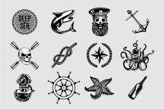 Nauitical ikony ustawiać Rocznika żołnierz piechoty morskiej podpisuje kolekcję z żeglowanie elementami Żeglarza tatuażu wektorow royalty ilustracja