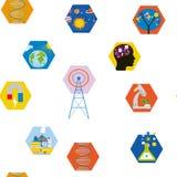 Nauk ikon bezszwowy wzór, śliczny projekt 4 krów graficzny ilustracyjny setu wektor Obrazy Stock