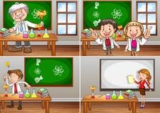 Nauk sala lekcyjne z nauczycielami ilustracja wektor