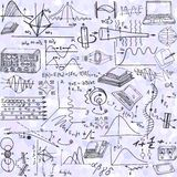 Nauka bezszwowy wzór z nakreślenie elementami odnosić sie physics Zdjęcie Stock