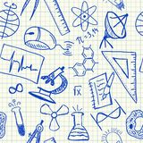 Nauka doodles bezszwowego wzór Zdjęcie Royalty Free