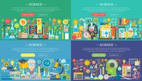 Nauka, edukacja, online uczenie, mądrze pomysły i badawczy horisontal płascy pojęcie projekta horyzontalni sztandary ustawiający, ilustracji