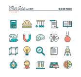 Nauka, eksperymenty, laboratorium, studia i więcej, cieniejemy kreskowego co ilustracja wektor