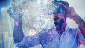 Nauka składu hologram łączący z mężczyzną używa Zwiększającą rzeczywistość ziemia zbiory wideo