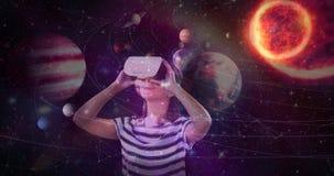 Nauka składu kobieta ogląda wszechświat z Zwiększającą rzeczywistością ilustracji