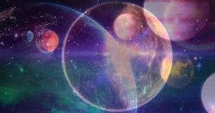 Nauka składu wszechświat łączący z animowaną planetą ilustracja wektor