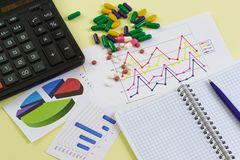 Nauka skuteczność leki Kalkulator, kolorowe grafika, Notepad i pastylki, fotografia stock