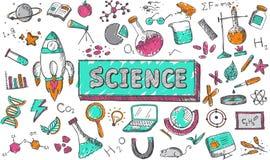 Nauki chemii physics biologii astronomii edukaci temat royalty ilustracja