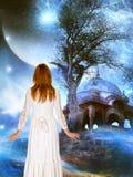 Nauki fikci fantazi przestrzeni kobieta Fotografia Royalty Free