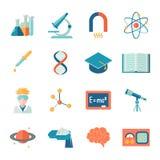 Nauki i badania ikony mieszkanie Zdjęcia Royalty Free