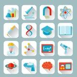 Nauki i badania ikony mieszkanie Obraz Royalty Free