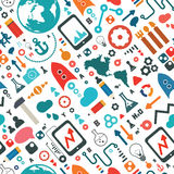 Nauki i socjalny medialnej ikony bezszwowy wzór Fotografia Royalty Free