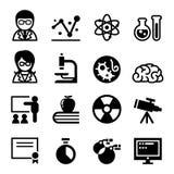 Nauki ikony set ilustracji