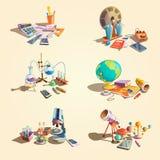 Nauki kreskówki retro set ilustracji
