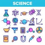 Nauki Kreskowej ikony Ustalony wektor Analizy grafiki sylwetka Nauki laboratorium ikony Cienieje kontur sieci ilustracj? ilustracja wektor