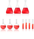 Nauki zlewka z czerwonym chemicznym ciekłym ikona setem i Zdjęcia Stock