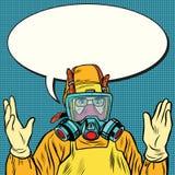 Naukowa chemik w ochronnym kostiumu, lab ilustracji
