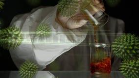 Naukowa dolewania substancje chemiczne w zlewce royalty ilustracja