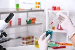 Naukowa kapiący odczynnik w butelkę z próbką w chemii laboratorium, zbliżenie obraz stock