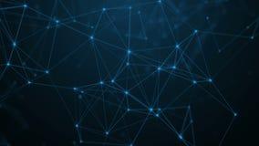 Naukowa tła i abstrakta technologia Plexus cyfrowa dynamiczna tapeta Granicy linie, trójboki i punkty, pętla zbiory