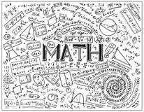 Naukowe formuły i obliczenia w physics i mathematics na whiteboard Lekcja algebra wewnątrz i geometria ilustracji