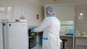 Naukowiec dyrygentury testa jajko w karmowym laboratorium zbiory
